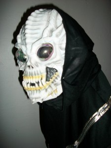 HALLOWEEN COSTUME CARNIVAL MARDI MASQUERADE SPOOK CREEP ALIEN SKULL MASK HOODED