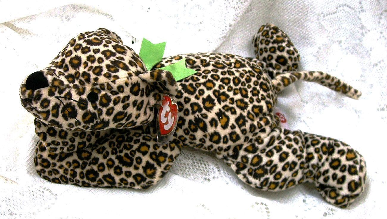 Ty Pillow Pal Speckles Leopard Spots Green Ribbon Machine Washable Soft Cuddly