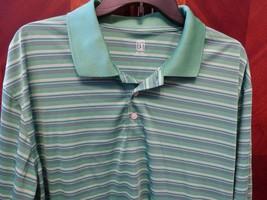 PGA Tour Golf Polo Green Striped Purple White Extra Large Thin Lightweig... - $13.06