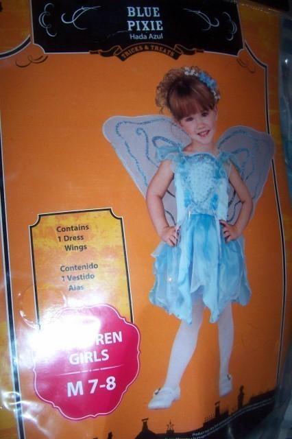 Girls Blue Pixie Halloween Costume Wings SZ M 7/8 NEW Dress Wings