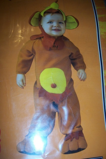 Infant Monkey Costume 0-6 Months NEW Banana Chimp Monkey Romper Non Skid Soles