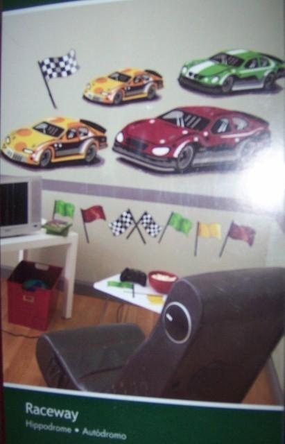 Wallies Raceway Big Murals Race Cars Race Flags Die Cut Prepasted Wallpaper NEW