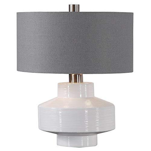 Uttermost 26382-1 Crosby - Two Light Mid-Century Table Lamp, Ribbed Texture/Brus