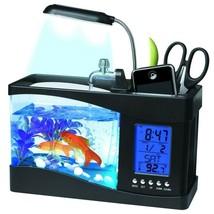 USB Mini Fish Tank Aquarium Glass LCD Timer Clock LED Light LED Aquarium... - $49.41