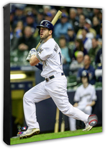 Mike Moustakas 2019 Milwaukee Brewers -16x20 Photo on Stretched Canvas - $89.99