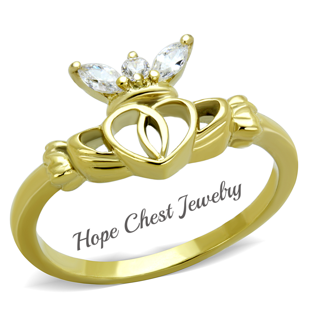 Primary image for HCJ GOLD TONE STAINLESS STEEL LITTLE CROWN CZ CLADDAGH RING SIZE 5-10