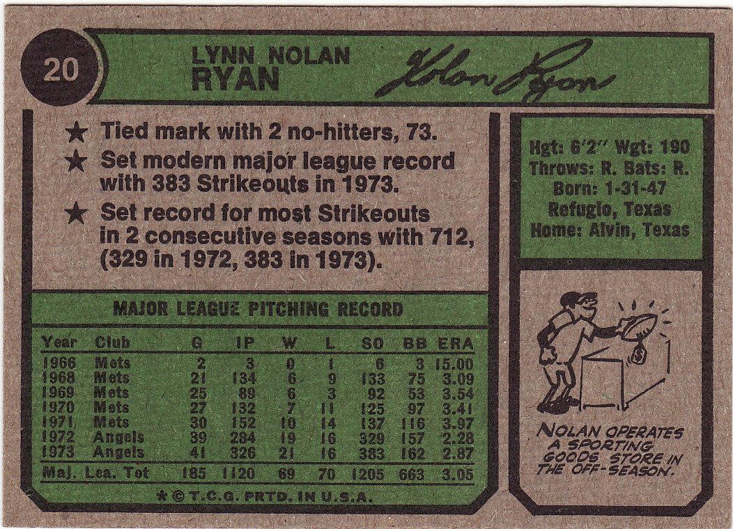Nolan Ryan 1974 Topps #20 EX+