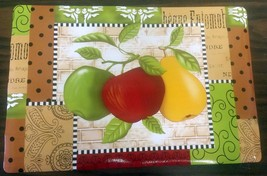 "Set of 4 same Kitchen Vinyl NON CLEAR Placemats (18"" x 12""), PEAR & 2 APPLES - $14.84"