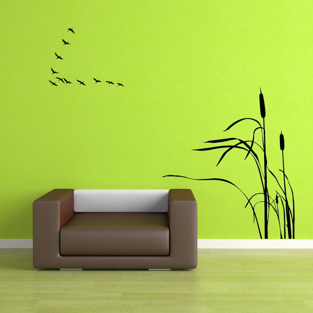 Birds Flying in a V with Cattails - Vinyl Wall Art Decal