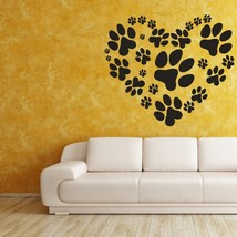 Love Your Pet Heart of Paw Prints - Vinyl Wall Art Decal - $28.00