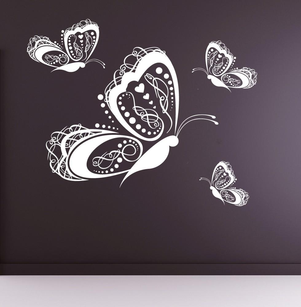 Decorative Butterflies (Set of 4) - Vinyl Wall Art Decal