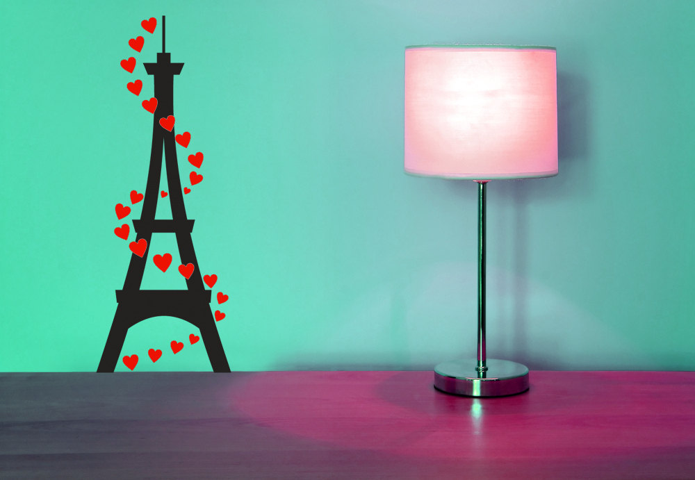 Eiffel Tower with Hearts  - Vinyl Wall Art Decal