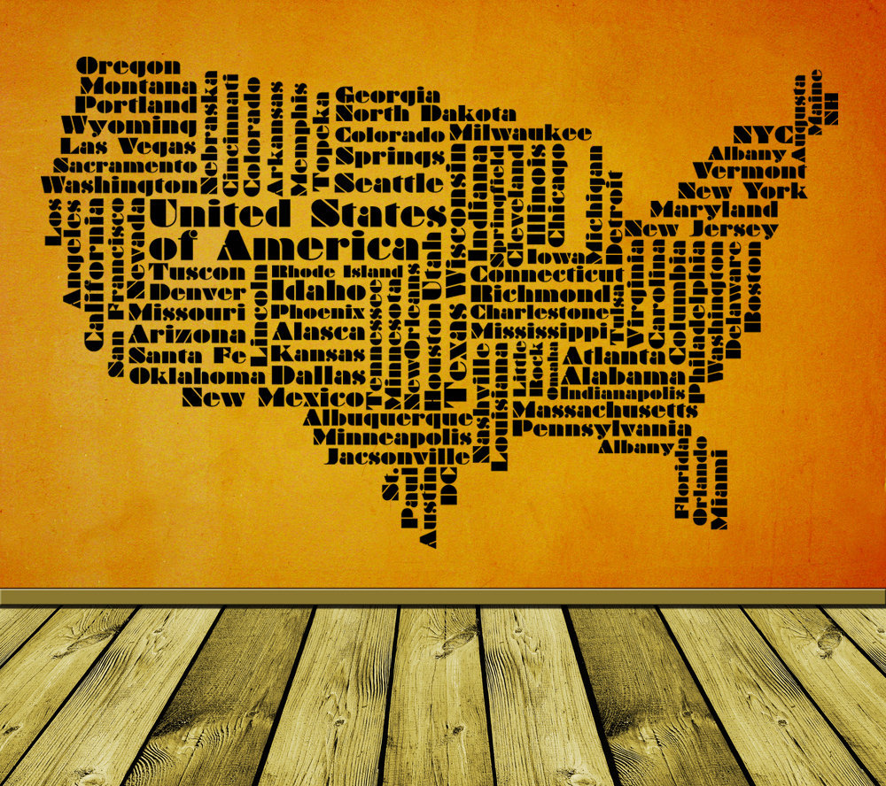 USA Word Cloud - Vinyl Wall Art Decal