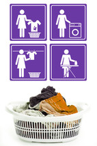 Laundry Directions Icons - Vinyl Wall Art Decal - $32.00