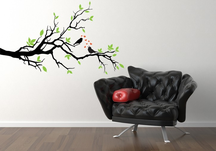 Branch in the Spring with Love Birds - Vinyl Decal