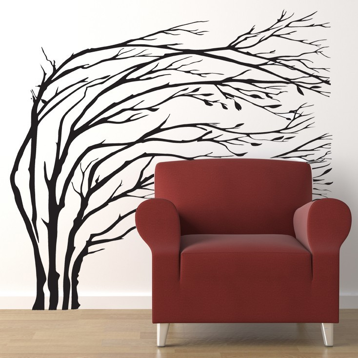 Primary image for Winter Trees Blowing in the Wind - Vinyl Wall Art Decal