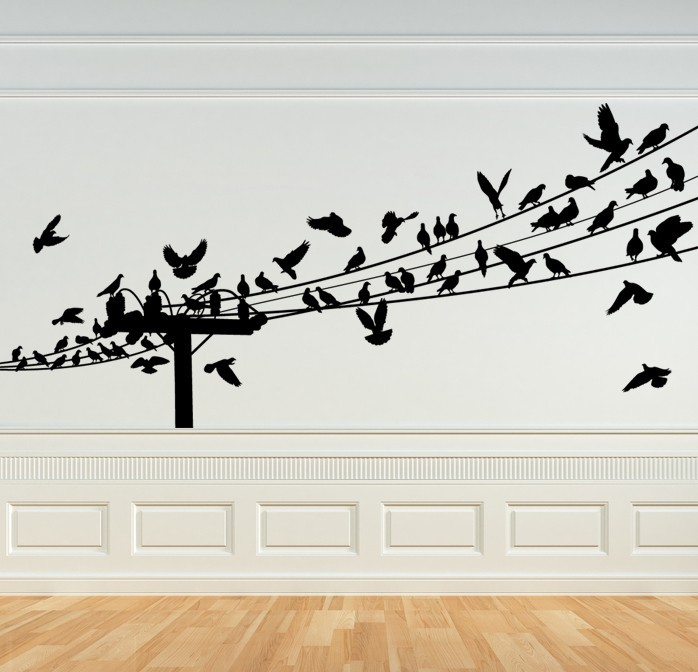 Primary image for Birds on Power Lines - Vinyl Wall Art Decal