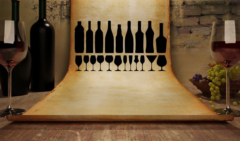 Set of Various Bottles and Glasses  - Vinyl Wall Art Decal