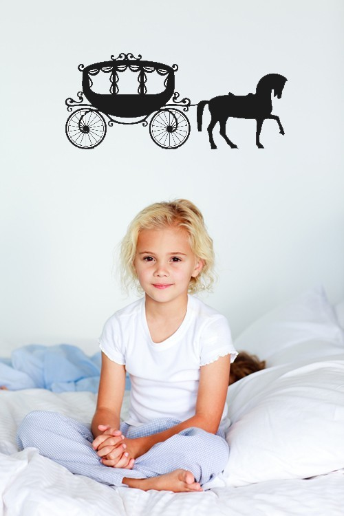 Primary image for Princess Horse and Carriage - Vinyl Wall Art Decal