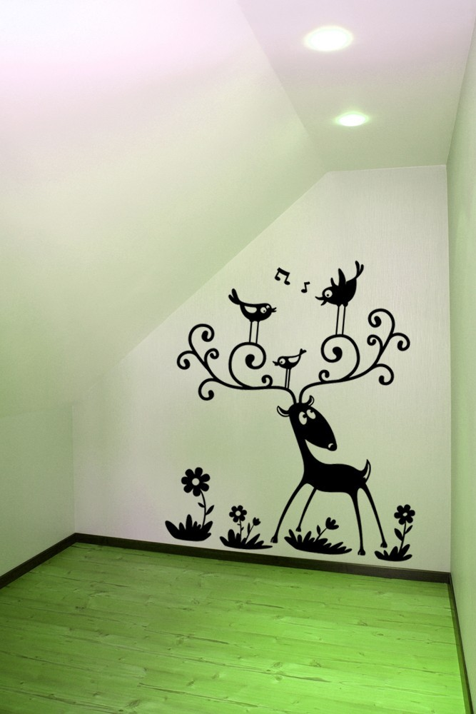 Whimsical Deer with Birds - Vinyl Wall Art Decal