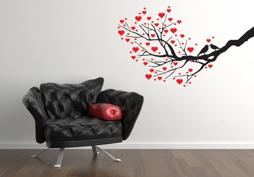 Love Birds on Branch with Hearts - Vinyl Wall Art Decal