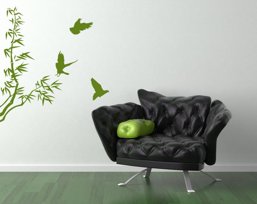 Bamboo with Birds  - Vinyl Wall Art Decal