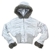 Palomares Fashion Womens Metallic Silver Short Fur Trim Hooded Jacket Sz... - $34.64