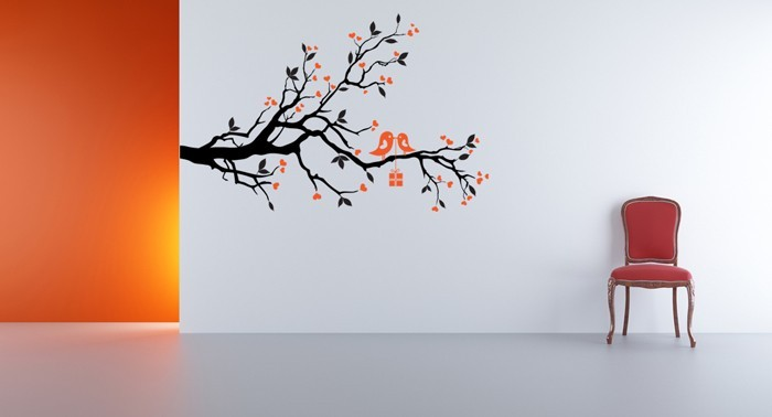 Love Branch with Love Birds - Vinyl Wall Art Decal