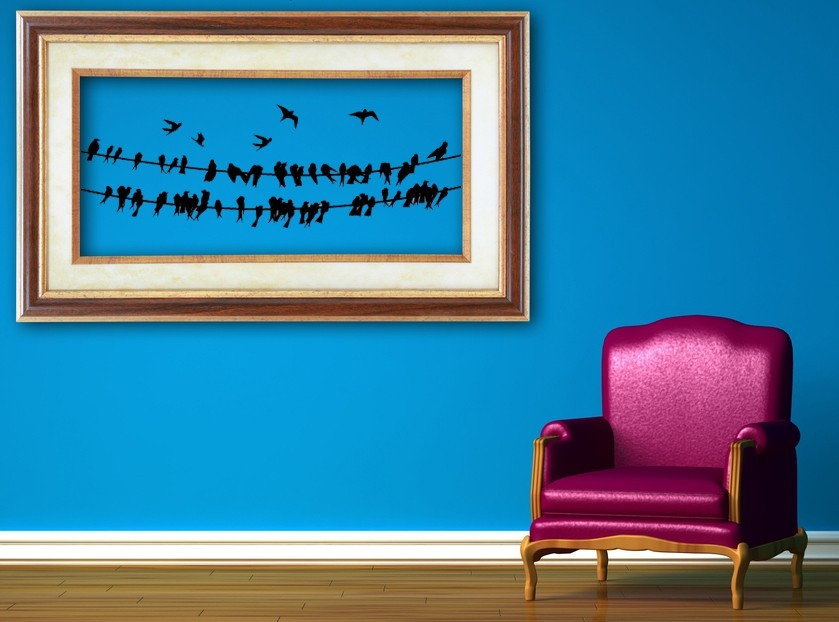 Birds on 2 Wires - Vinyl Wall Art Decal