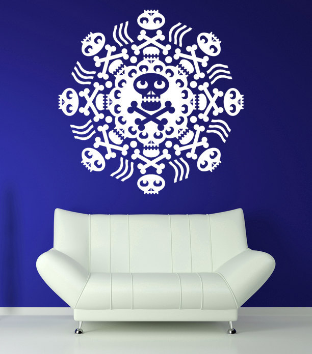 Skull and Cross Bones Medallion - Vinyl Wall Art Decal
