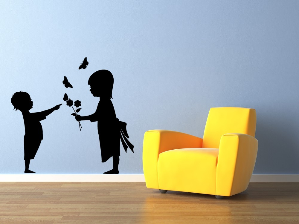 Girl and Boy with Flowers - Vinyl Wall Art Decal