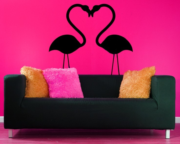 Pink Flamingos in Love  - Vinyl Wall Art Decal