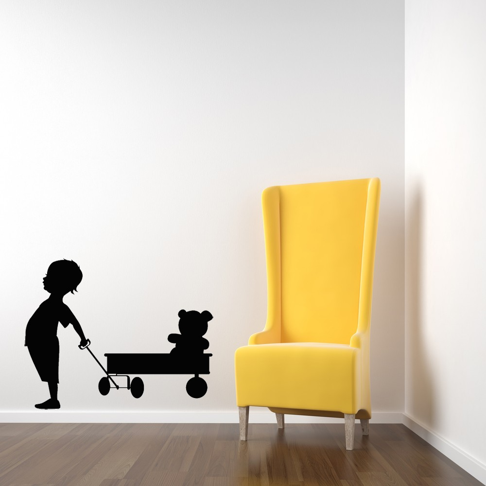 Boy with His Wagon and Teddy Bear - Vinyl Wall Art Decal