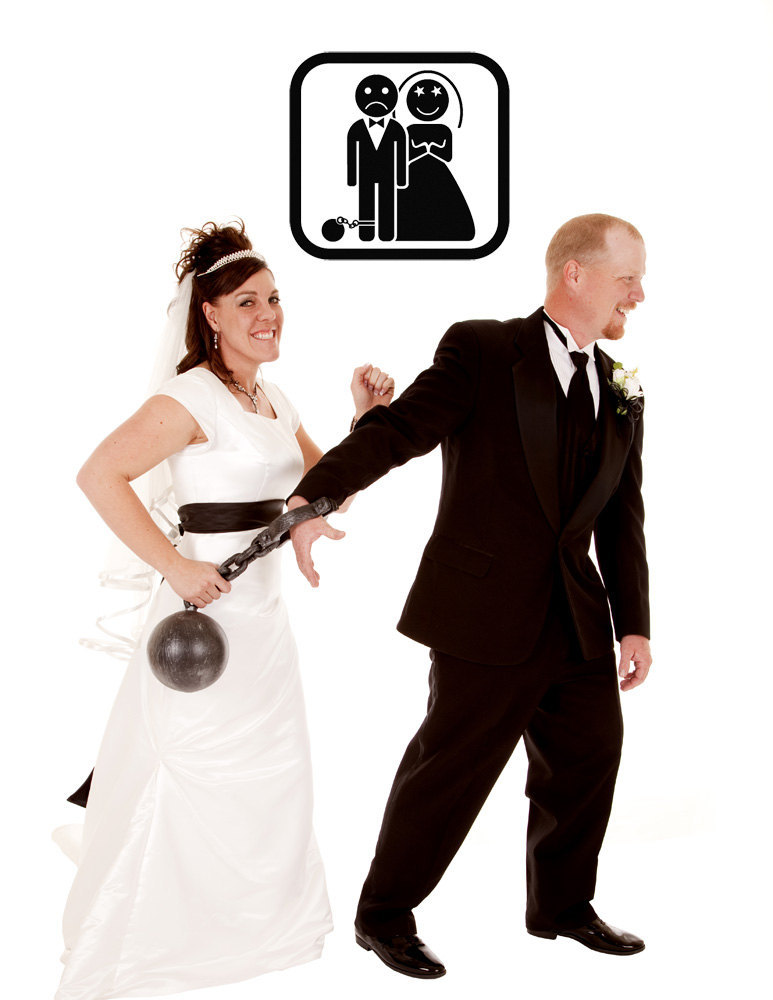Bride and Groom with a Ball and Chain - Vinyl Wall Art Decal