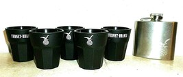5 Fernet Branca Milano Blacked Ceramic Italian Shot Glasses & Pocket Flask - $29.95