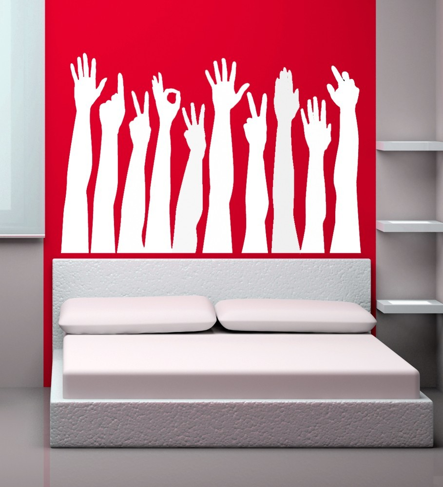 Hand Silhouettes Making Different Signs - Vinyl Wall Art Dec
