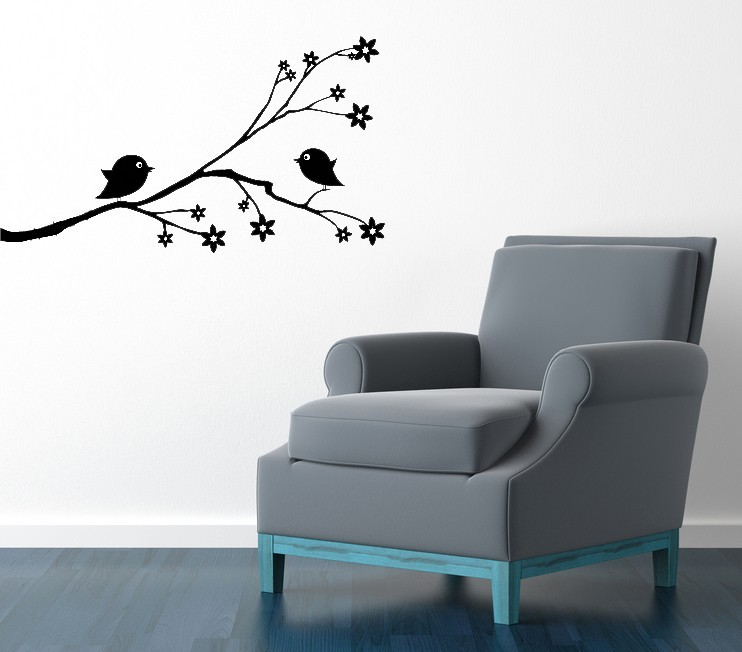 Cute Birds on Branch with Blossoms - Vinyl Wall Art Decal