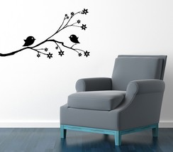 Cute Birds on Branch with Blossoms - Vinyl Wall Art Decal - $38.00