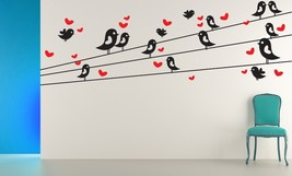 Cartoon Birds with Hearts on Wires - Vinyl Wall Art Decal - $49.00