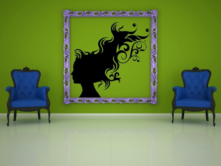 Female Profile with Blowing Hair - Vinyl Wall Art Decal