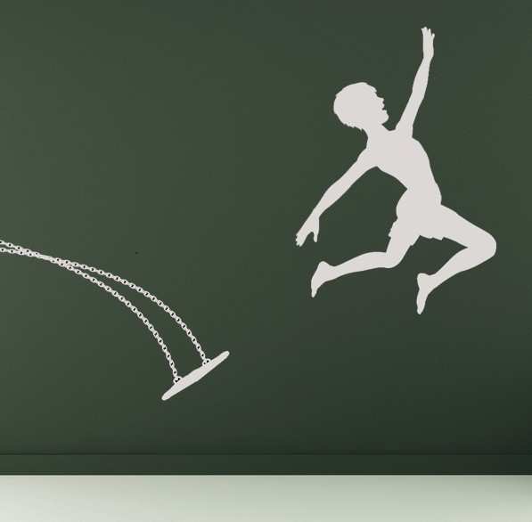 Boy Jumping Out of Swing - Vinyl Wall Art Decal
