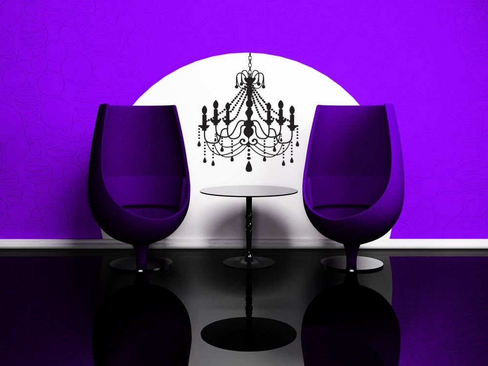 Decorative Chandelier with Beads and Candles - Vinyl Decal