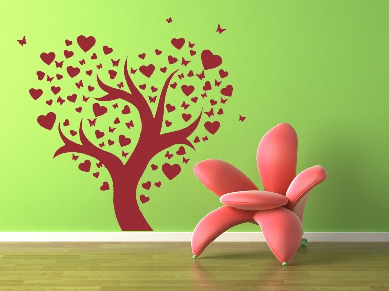 Tree of Hearts and Butterflies - Vinyl Wall Art Decal