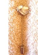 LOVELY VINTAGE MOTHER OF PEARL HEART STICK PIN - $31.91