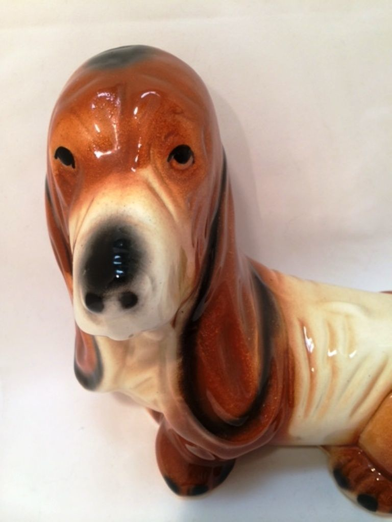Basset Hound Dog Coin Bank Vintage Ceramic Figurine 8.75 inches Tall Puppy