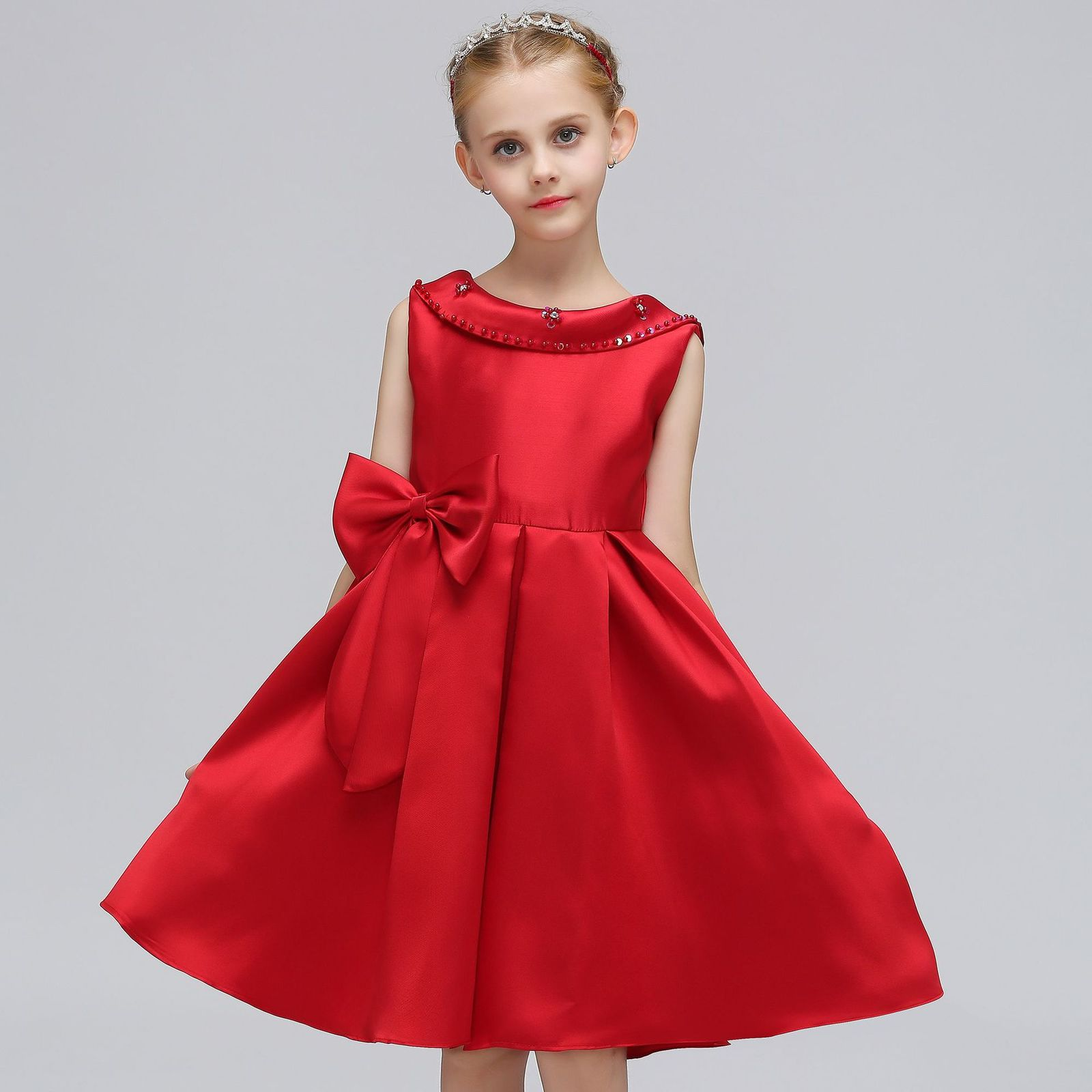 Red Satin Pricess Flower Girl Dress 2019 Cheap Ball Gown Wedding Kid Party Gowns