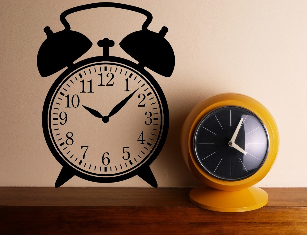 Old Fashioned Alarm Clock - Vinyl Wall Art Decal