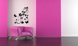 Butterfly and Flower Sprig - Vinyl Wall Art Decal - $34.00