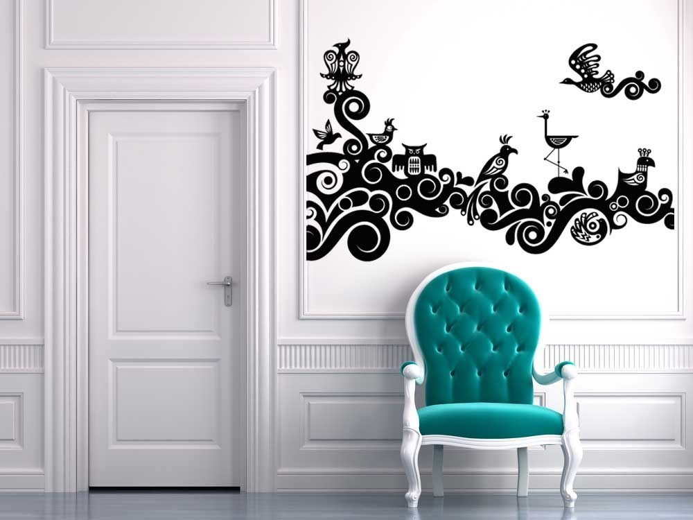 Stylized Swirl Branch with Birds - Vinyl Wall Art Decal