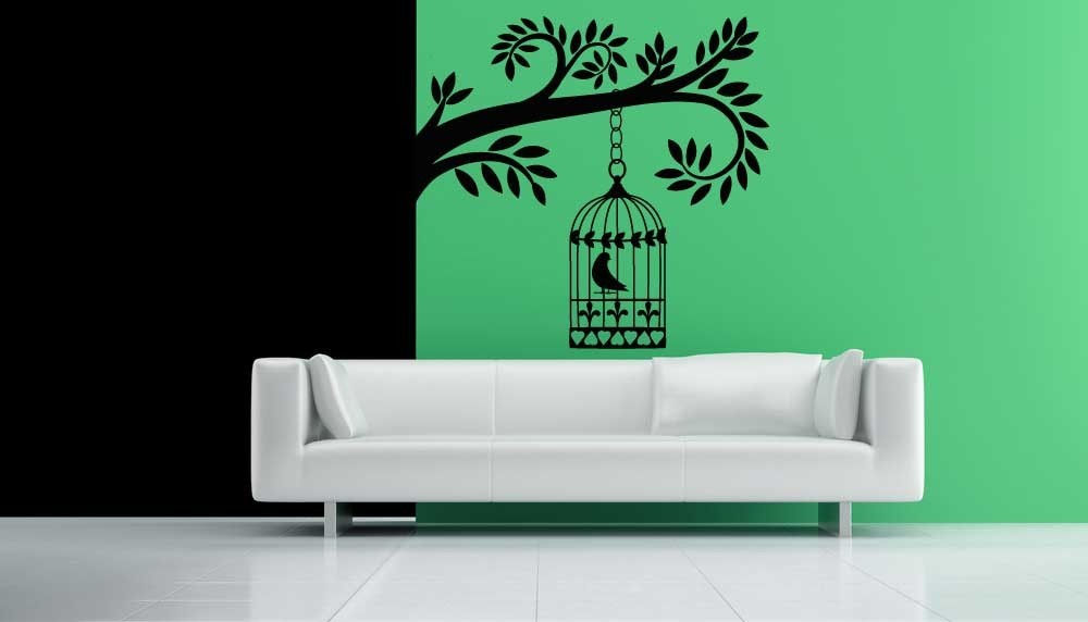 Silhouette of Tree Section with Bird Cage - Vinyl Wall Art D